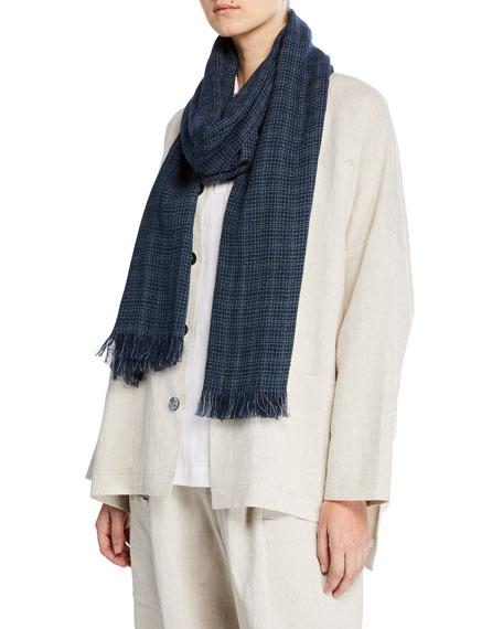 Eskandar Grid-Weave Linen/Cotton Scarf