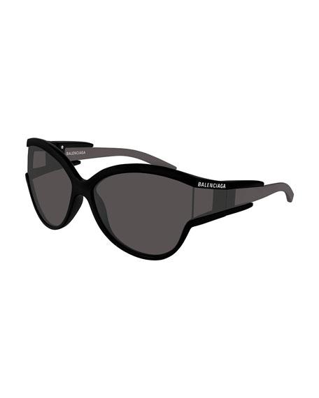 Balenciaga Soft Mask Monochromatic Wrap Cat-Eye Sunglasses