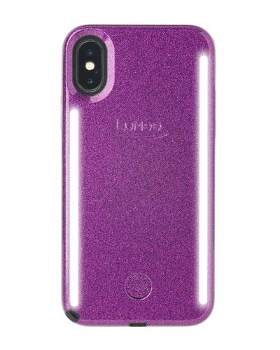 iPhone XS Max Duo Photo-Lighting Case, Dark Purple Glitter
