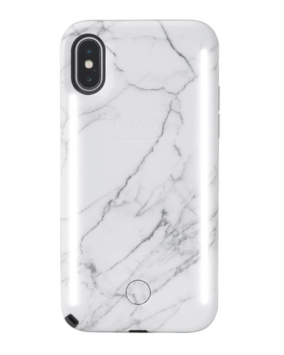 iPhone X Duo Photo-Lighting Case  White Marble V2