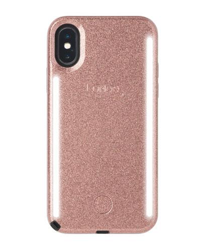 iPhone XS Max Duo Photo-Lighting Case, Rose Glitter