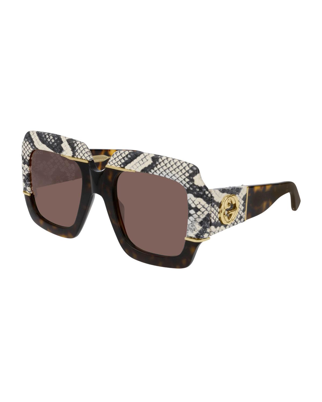 3140ea90b57 Gucci Chunky Square Snakeskin Printed Acetate Sunglasses
