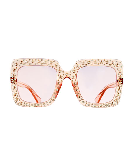 Image 2 of 3: Gucci Oversized Square Transparent Sunglasses w/ Crystal Star Embellishments