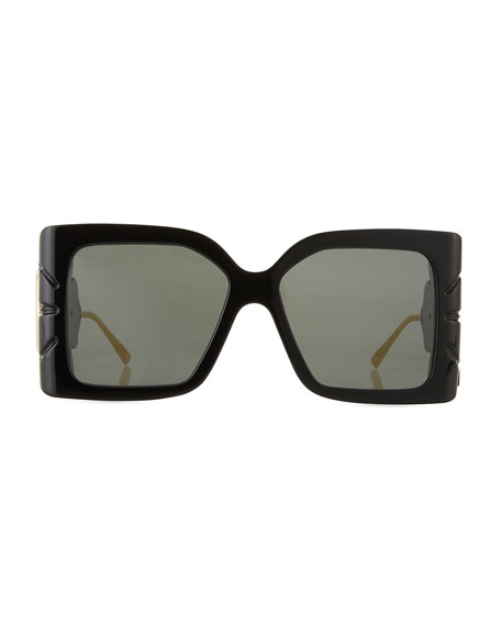 Gucci Square Acetate Sunglasses w/ Oversized Leaf & GG Temples