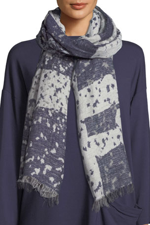Eileen Fisher Airy Wool/Linen Jacquard Scarf
