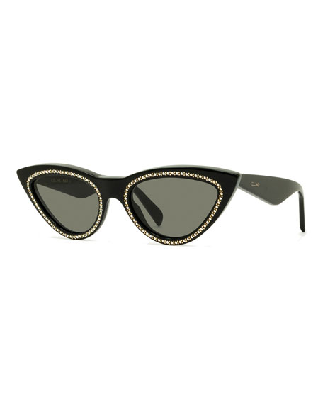 Celine Studded Cat-Eye Acetate Sunglasses