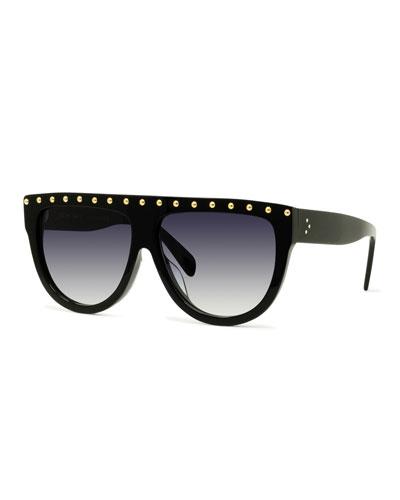 Studded Flattop Shield Sunglasses