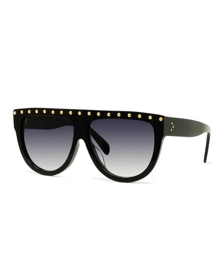 Celine Studded Flattop Shield Sunglasses