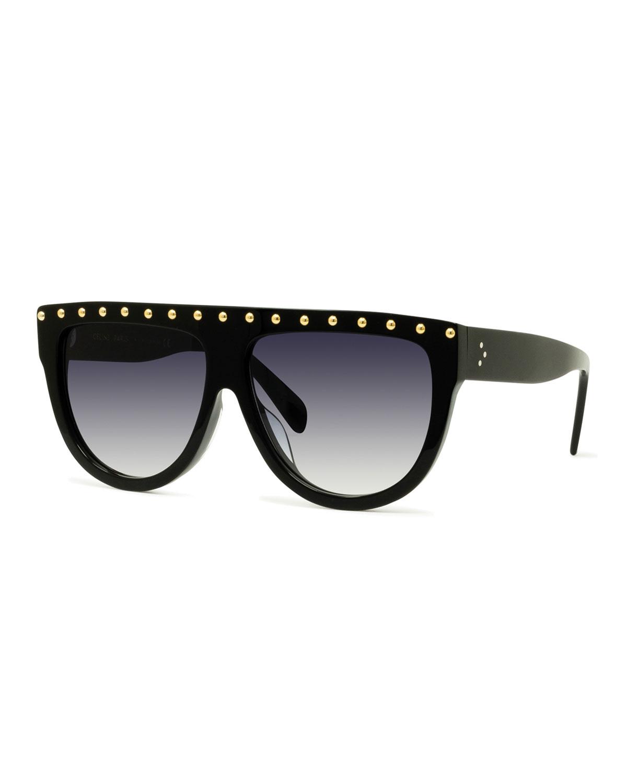 be9bb74834 ... Celine Studded Flattop Shield Sunglasses Neiman Marcus