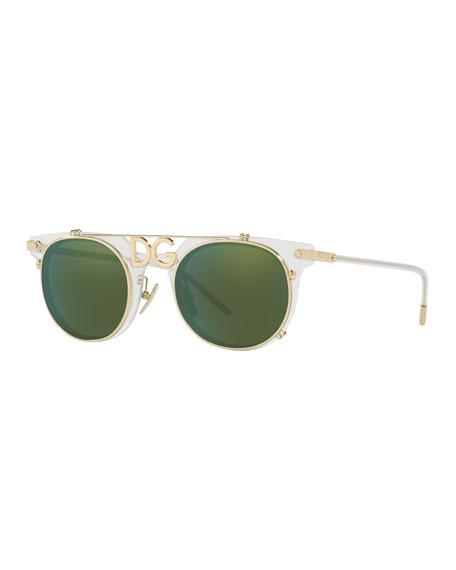 Dg-Bridge Round Sunglasses in Ice Green