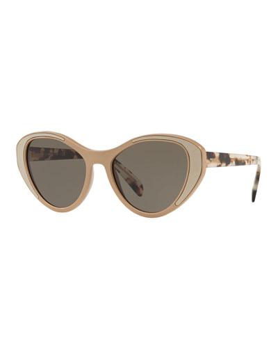 Colorblock Cat-Eye Sunglasses
