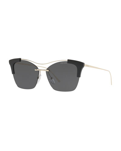 Monochromatic Semi-Rimless Butterfly Sunglasses
