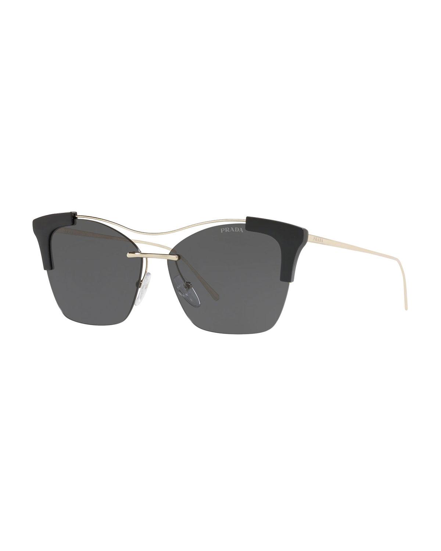 e55fd81a2c0 Prada Monochromatic Semi-Rimless Butterfly Sunglasses