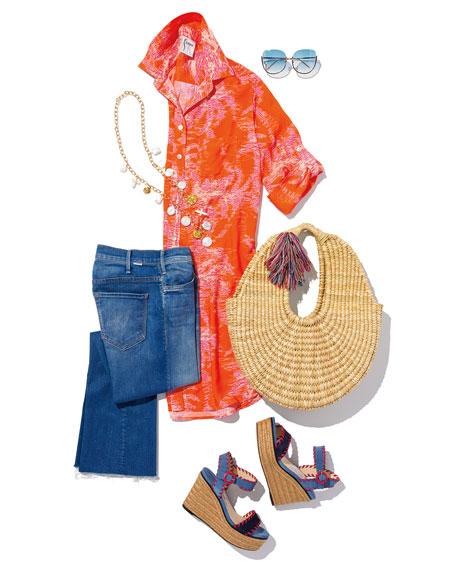 Linda Farrow Semi-Rimless Butterfly Sunglasses