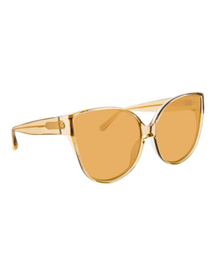 a93dce8a53a Linda Farrow Semitransparent Acetate Mirrored Cat-Eye Sunglasses