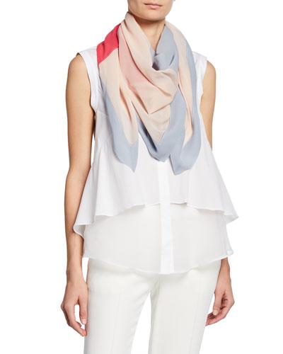 Colorblocked Silk Scarf