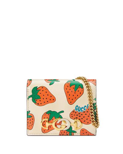 Gucci Zumi Strawberry Card Case