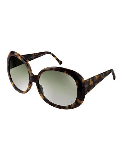 Jackie Chunky Oval Sunglasses, Tokyo Tortoise