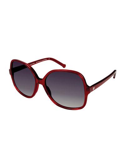 Orifini II Round Gradient Sunglasses, Cherry