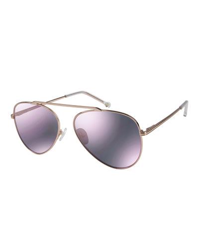 Cosmic Aviator Sunglasses with Open Nose Bridge, Rose Gold