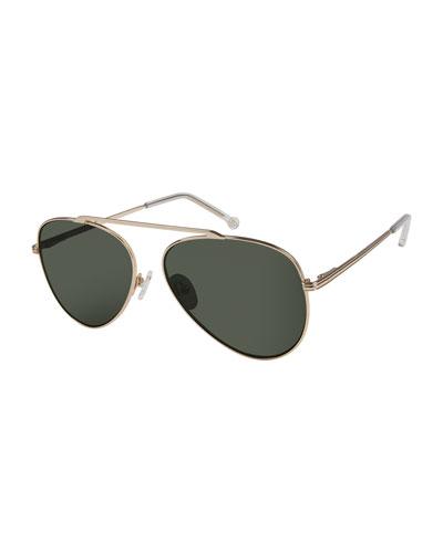 Cosmic Aviator Sunglasses with Open Nose Bridge, Gold/Black