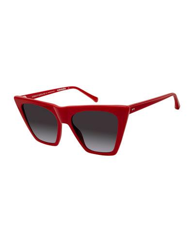 Metropolitan Plastic Cat-Eye Sunglasses, Red