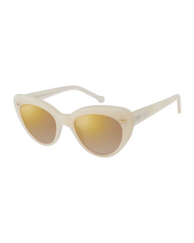 Lolita II Mirrored Cat-Eye Sunglasses, Pearl
