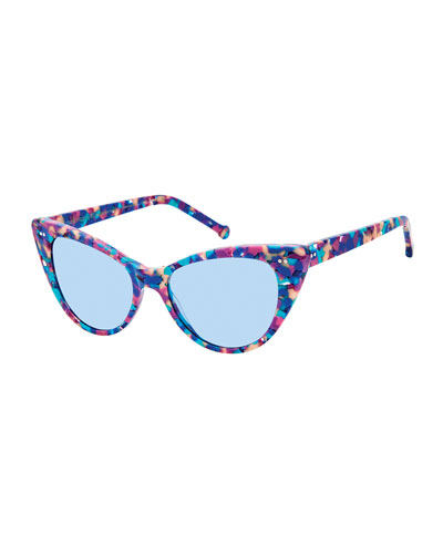 Audrey Marbled Cat-Eye Sunglasses, Multi Marble