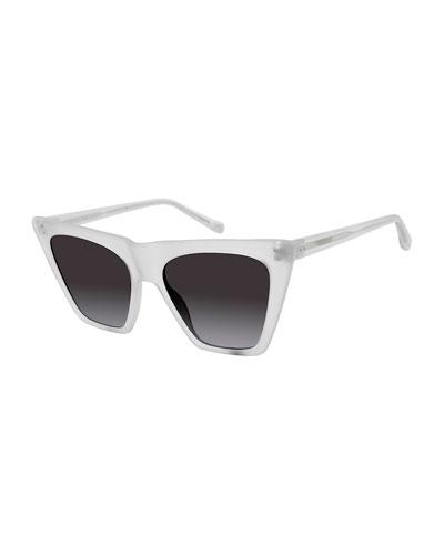 Metropolitan Cat-Eye Semitransparent Sunglasses, White