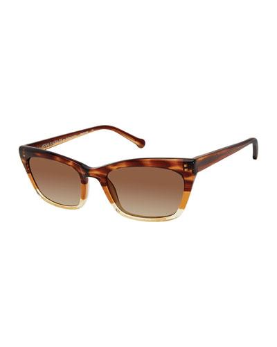 Brickell Square Plastic Sunglasses, Tortoise Fade