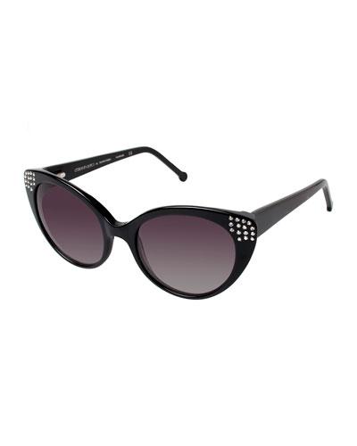 Seema Embellished Cat-Eye Sunglasses, Black
