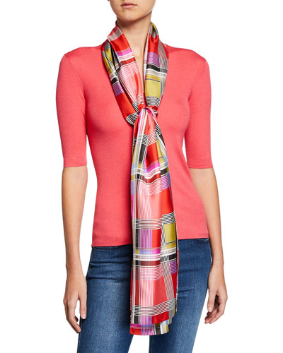 Multi Color Madras Silk Scarf
