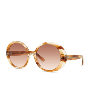 791850736463f Celine Round Gradient Chunky Acetate Sunglasses