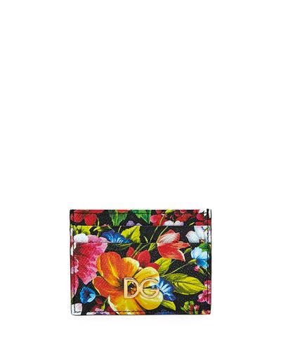 Floral-Print Leather Card Holder