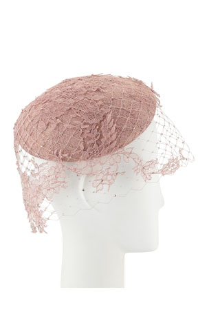 Philip Treacy Hand-Blocked Beret w/ Lace Veiling