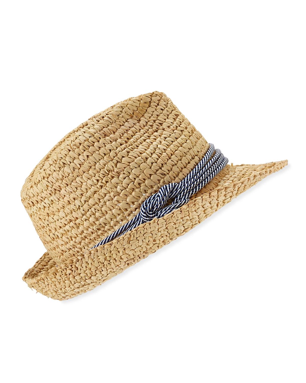 Tracy Watts Hitch Crochet Raffia Fedora Hat eae5323cbb2