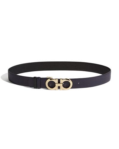 Gancini-Buckle Leather Belt
