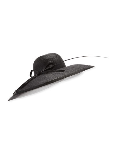 Capelina Mechanical Braid Hat w/ Sisal Bow & Feather