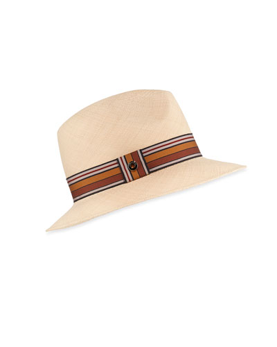 Ingrid Straw Panama Brisa Hat w/ Multi-Stripe Band