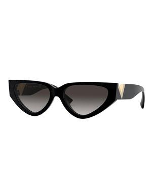 f9f783152447 Valentino Cat-Eye Acetate Sunglasses w  V Temples