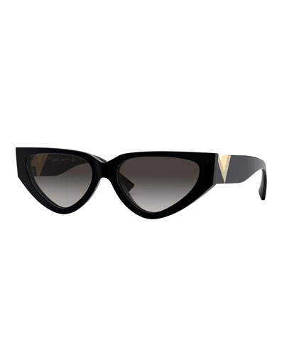 Cat-Eye Acetate Sunglasses w/ V Temples