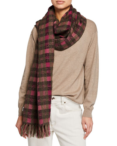 Cashmere-Wool Shimmer Check Scarf
