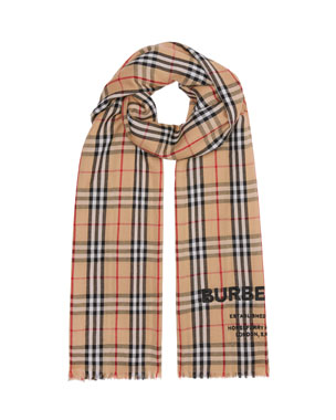 ce2faeddb9df3 Burberry Logo Embroidered Vintage Check Lightweight Cashmere Scarf