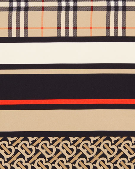Burberry Monogram, Icon Stripe and Check Mixed Print Silk Scarf