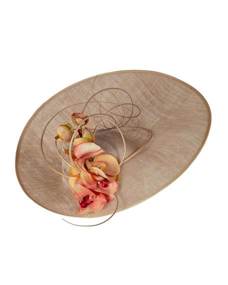 Vivien Sheriff Large Disc Straw Hat w/ Floral Details