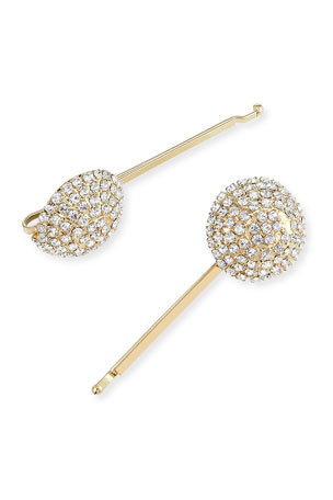 Rosantica Strobo Crystal Embellished Brass Bobby Pins, Set of 2