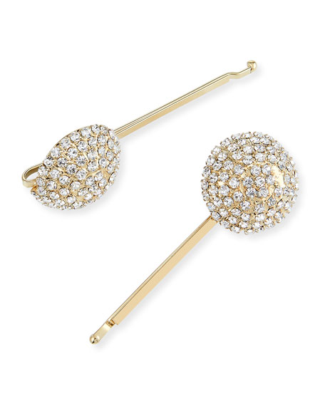 Rosantica Accessories STROBO CRYSTAL EMBELLISHED BRASS BOBBY PINS, SET OF 2