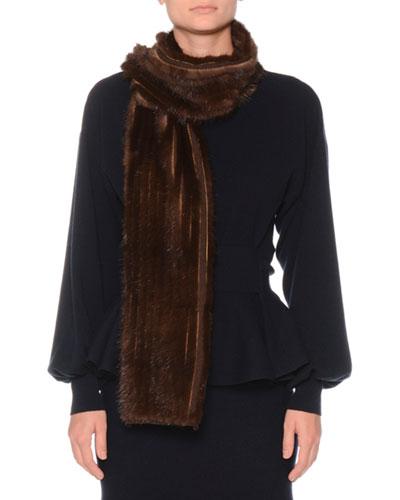 Mink Fur & Cashmere Knit Scarf