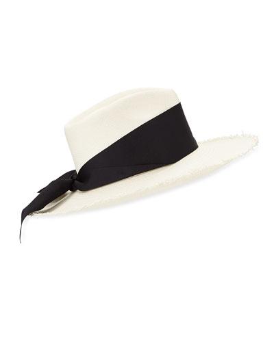 Woven Frayed Panama Hat