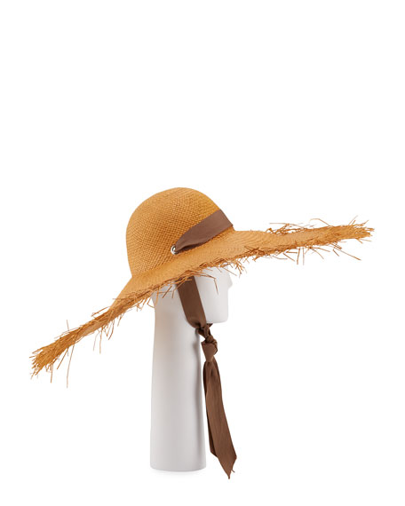 Sensi Studio Straw Wide Brim Panama Hat w/ Self-Tie Ribbon